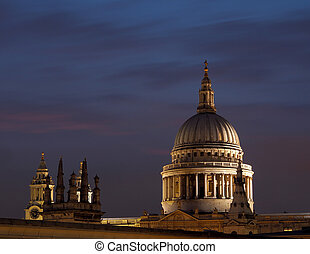 St Pauls cathedral dome floodlit at dusk