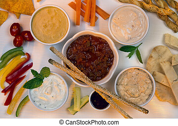 Food - Savory Dips - Bread Sticks - A selection of party...