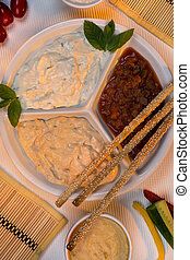 Food - Party Dips - Bread Sticks - A selection of party dips...
