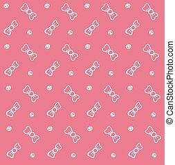 Baby background bows pink seamless Vector illustration