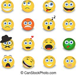 set of round yellow emoticons