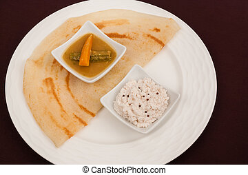 Indian Dosa with Chutney Sambar - A traditional ethnic south...