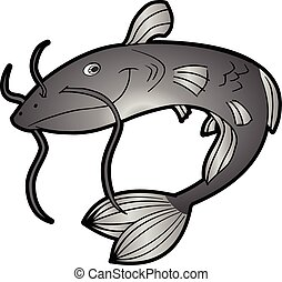 Cartoon Catfish - This is a vector cartoon character of a...