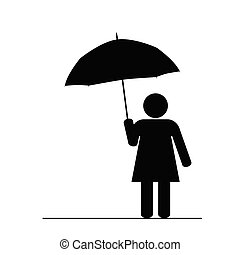 girl with umbrella black vector