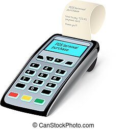 POS terminal - The POS terminal device on the white...