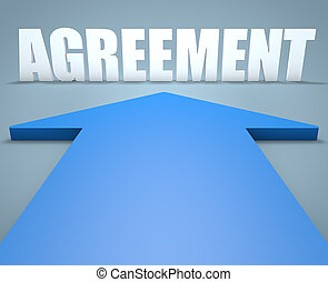 Agreement - 3d render concept of blue arrow pointing to text...