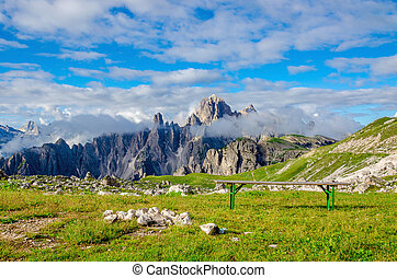 Campers and parking lot in Dolomites - Campers in the...
