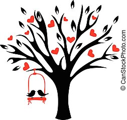Tree with hearts and birds