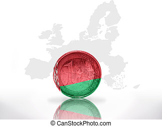 euro coin with belarus flag on the european union map...