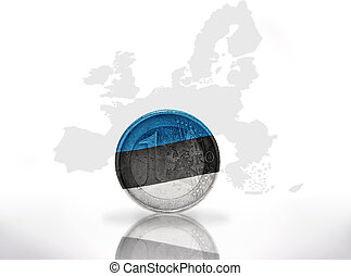 euro coin with estonian flag on the european union map...