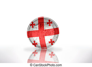 euro coin with georgian flag on the white background
