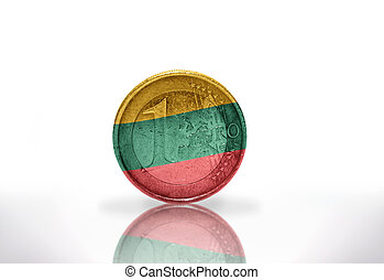 euro coin with lithuanian flag on the white background