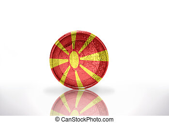 euro coin with macedonia flag on the white background