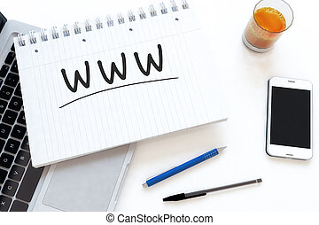 World Wide Web - WWW - World Wide Web - handwritten text in...