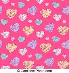 Scribble hearts pattern