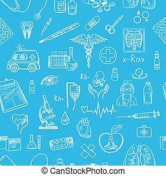 Blue hand draw medicine pattern. Set of medical and medicine...