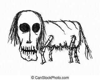 Zombie Animal Raster Illustration