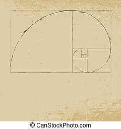 Fibonacci - Golden ratio spiral with distress paper...