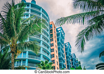 Architectural building Miami Style South Beach Florida image retro filtered