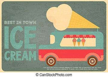 Ice Cream Posters - Ice Cream Retro Poster in Flat Design...