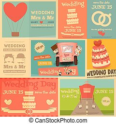 Wedding Day - Wedding. Set Mini Posters in Flat and Retro...