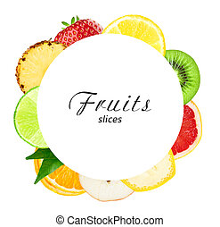 Fresh fruit slices. Healthy fruit concept