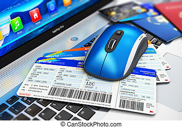 Online travel tickets booking on laptop - Creative abstract...