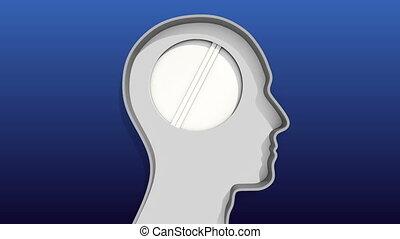 Opened door in Human head and gear - Opened door in Human...