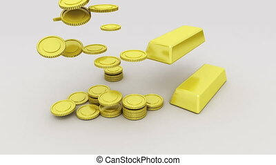Pile up Golden coins and bar 1 - Pile up Golden coins and...