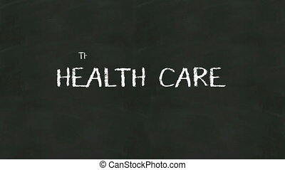 Handwriting concept of 'HEALTH CARE' at chalkboard.