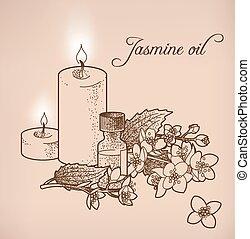 Jasmine essential oil and candles - Illustration of jasmine...