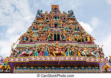 Hindu Temple in Little India, Singapore - Intricate Hindu...