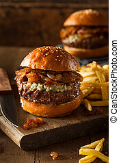 Juicy Blue Cheese Hamburger with Onions and Bacon