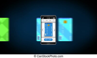 Credit card into smartphone, concept of mobile payment