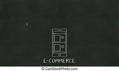 Handwriting concept of E-commerce at chalkboard with various...