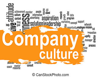 Company culture word cloud with yellow banner - Company...