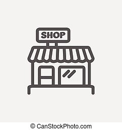 Business shop thin line icon - Business shop icon thin line...