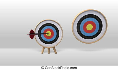 Arrow hitting several targets. - One arrow hitting exactly...