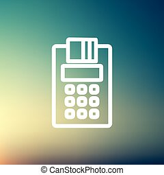 Credit Card Machine roll thin line icon - Credit Card...