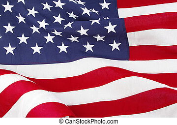 USA flag - Closeup of ruffled American flag