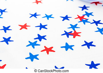 Table cloth with stars for July 4th decoration.