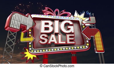 Sale sign SALE 40 percents in led light billboard promotion...
