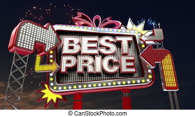 Sale sign 'BEST PRICE' in billboard - Sale sign 'Only Today'...