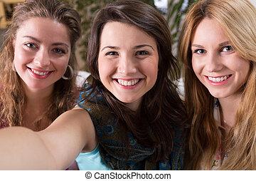 Selfie of three friends - Selfie of three smiling good girl...