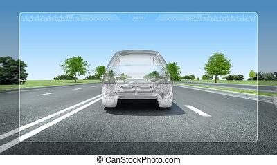 Road Lane alert .automotive - Automobile Technology. Road...