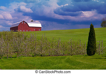 Red Barn under the clouds