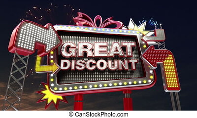 Sale sign 'GREAT DISCOUNT' - Sale sign 'Only Today' in led...