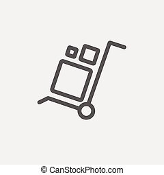 Trolley with boxes thin line icon - Trolley with boxes icon...