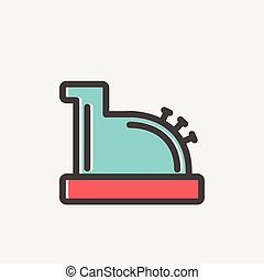Antique cash register thin line icon