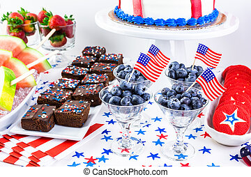 Party table - Variety of desserts on the table for July 4th...